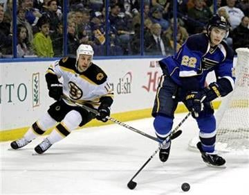 St. Louis Blues' Kevin Shattenkirk (22) controls the puck ahead of Boston Bruins' Gregory Campbell (11) during the first period of an NHL hockey game, Wednesday, Feb. 22, 2012, in St. Louis. (AP Photo/Tom Gannam) By Tom Gannam