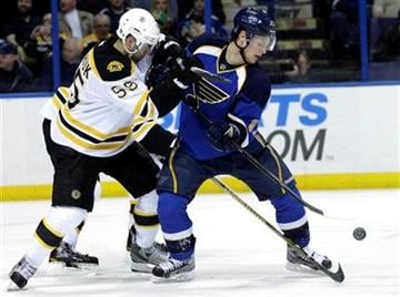 Boston Bruins' Johnny Boychuk (55) battles with St. Louis Blues' Vladimir Sobotka (17) for a loose puck in the second period of an NHL hockey game, Wednesday, Feb. 22, 2012 in St. Louis. (AP Photo/Tom Gannam) By Tom Gannam