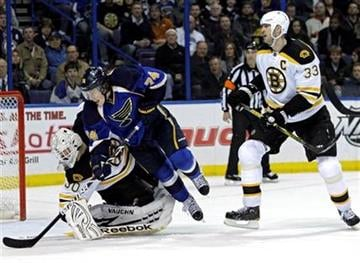 Boston Bruins' Zdeno Chara (33) shoves St. Louis Blues' T.J. Oshie (74) over goalie Tim Thomas (30) in the second period of an NHL hockey game, Wednesday, Feb. 22, 2012 in St. Louis.(AP Photo/Tom Gannam) By Tom Gannam