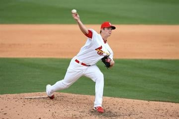 JUPITER, FL - MARCH 10:  Relief pitcher Shelby Miller #91 of the St Louis Cardinals pitches against the Washington Nationals at Roger Dean Stadium on March 10, 2010 in Jupiter, Florida.  (Photo by Doug Benc/Getty Images) By Doug Benc