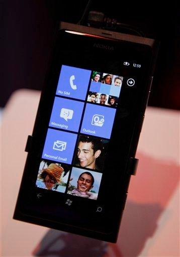 The Nokia Lumia 800 Windows based phone is seen at the 2012 International CES tradeshow, Tuesday, Jan. 10, 2012, in Las Vegas.  (AP Photo/Julie Jacobson) By Julie Jacobson