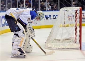 St. Louis Blues goalie Ben Bishop (30) reacts after New York Islanders defenseman Andrew MacDonald scored during the second period of an NHL hockey game on Saturday, March 5, 2011, in Uniondale, N.Y. (AP Photo/Kathy Kmonicek) By Kathy Kmonicek