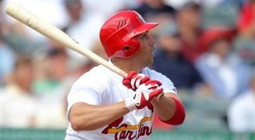 Carlos Beltran #3 of the St. Louis Cardinals bats against the Atlanta Braves at Roger Dean Stadium on March 12, 2012 in Jupiter, Florida.  (Photo by Marc Serota/Getty Images) By Marc Serota