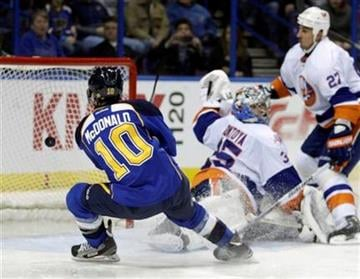 St. Louis Blues' Andy McDonald (10) scores a goal as he lifts the puck past New York Islanders goalie Al Montoya (35) in the second period of an NHL hockey game, Thursday, Feb. 16, 2012, in St. Louis.(AP Photo/Tom Gannam) By Tom Gannam