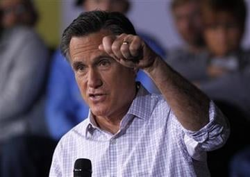 Republican presidential candidate, former Massachusetts Gov. Mitt Romney speaks at a campaign rally in Dayton, Ohio Saturday, March 3, 2012. (AP Photo/Gerald Herbert) By Gerald Herbert