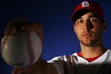 JUPITER, FL - FEBRUARY 26:  Adam Wainwright #50 of the St. Louis Cardinals during photo day at Roger Dean Stadium on February 26, 2008 in Jupiter, Florida.  (Photo by Doug Benc/Getty Images) By Doug Benc