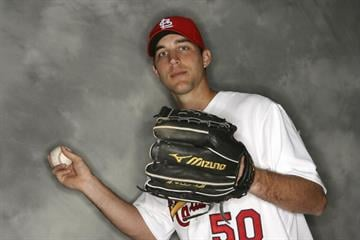 JUPITER, FL - FEBRUARY 26:  Pitcher Adam Wainwright #50 of the St. Louis Cardinals poses during Photo Day on February 26, 2007 at the Roger Dean Stadium in Jupiter, Florida.  (Photo by Doug Benc/Getty Images) By Doug Benc