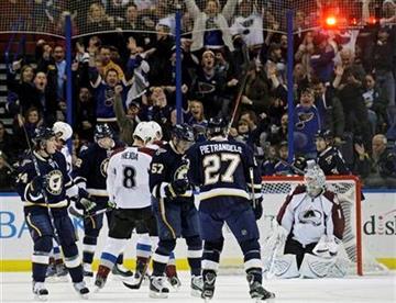 St. Louis Blues' David Perron (57), center, celebrates a goal as Colorado Avalanche goalie Semyon Varlamov (1) reacts in the first period of an NHL hockey game, Saturday, Feb. 11, 2012, in St. Louis. (AP Photo/Tom Gannam) By Tom Gannam