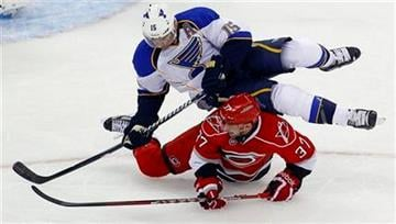 St. Louis Blues' Jamie Langenbrunner (15) collides with Carolina Hurricanes' Tim Brent (37) during the first period of an NHL hockey game in Raleigh, N.C., Thursday, March 15, 2012. (AP Photo/Karl B DeBlaker) By Karl B DeBlaker