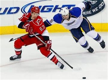Carolina Hurricanes' Jeff Skinner (53) tangles with St. Louis Blues' Barret Jackman (5) during the first period of an NHL hockey game in Raleigh, N.C., Thursday, March 15, 2012. (AP Photo/Karl B DeBlaker) By Karl B DeBlaker