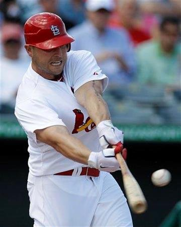 St. Louis Cardinals' Matt Holliday hits a single in the first inning of a spring training baseball game against the Miami Marlins in Jupiter, Fla., Friday, March 16, 2012. (AP Photo/Patrick Semansky) By Patrick Semansky