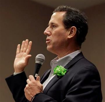 Republican presidential candidate, former Pennsylvania Sen. Rick Santorum, speaks at a campaign stop in Lewis and Clark Township, Mo. Caucus Saturday, March 17, 2012, in Hazelwood, Mo. (AP Photo/Charlie Riedel) By Charlie Riedel