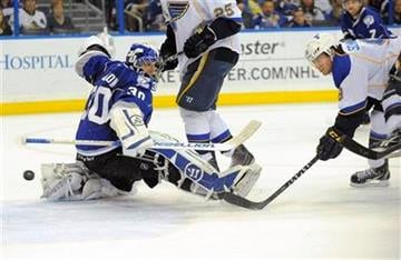 St. Louis Blues center Jaden Schwartz, right, shoots by Tampa Bay Lightning goalie Dwayne Roloson, left, for the score during the first period of an NHL hockey game, Saturday, March 17, 2012, in Tampa, Fla. (AP Photo/Brian Blanco) By Brian Blanco