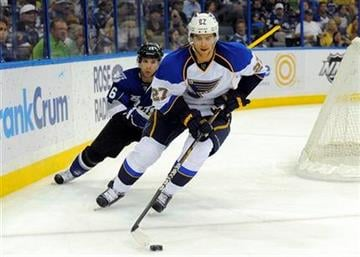 St. Louis Blues defenseman Alex Pietrangelo, right, controls the puck ahead of Tampa Bay Lightning right wing Martin St. Louis during the second period of an NHL hockey game, Saturday, March 17, 2012, in Tampa, Fla. (AP Photo/Brian Blanco) By Brian Blanco