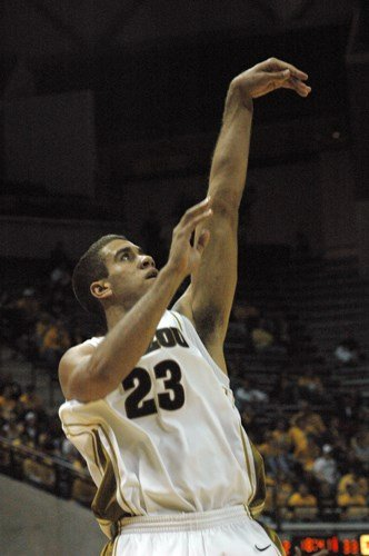 Justin Safford follows through on a shot during Missouri's 83-68 win over Tennessee-Martin Wednesday, Nov. 17, 2009 at Mizzou Arena in Columbia. Safford had five points and four rebounds in the game. (Photo by JJ Stankevitz) By Content Creator