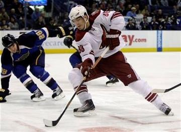 Phoenix Coyotes' Peter Mueller (88) handles the puck as St. Louis Blues' Carlo Colaiacovo, left, looks on during the first period of an NHL hockey game Thursday, Nov. 19, 2009, in St. Louis. (AP Photo/Jeff Roberson) By Jeff Roberson