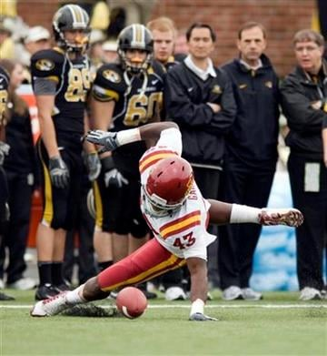 Iowa State's Fred Garrin falls on a Missouri fumble in front of their bench during the first half of an NCAA college football game Saturday, Nov. 21, 2009, in Columbia, Mo.  (AP Photo/L.G. Patterson) By L.G. Patterson