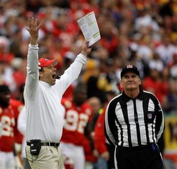 Kansas City Chiefs coach Todd Haley argues a call during the fourth quarter of an NFL football game against the Pittsburgh Steelers, Sunday, Nov. 22, 2009, in Kansas City, Mo. The Chiefs won the game 27-24. (AP Photo/Charlie Riedel) By Charlie Riedel