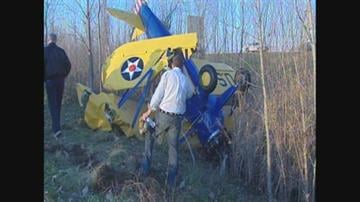 A pilot and his passenger suffered minor injuries in a biplane crash near Creve Coeur Airport on Sunday, Nov. 22, 2009. By Jacob Kuerth