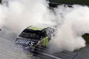 Jimmie Johnson does a burnout after winning the NASCAR Sprint Cup series season championship, at Homestead-Miami Speedway in Homestead, Fla., Sunday, Nov. 22, 2009. (AP Photo/Lynne Sladky) By Lynne Sladky
