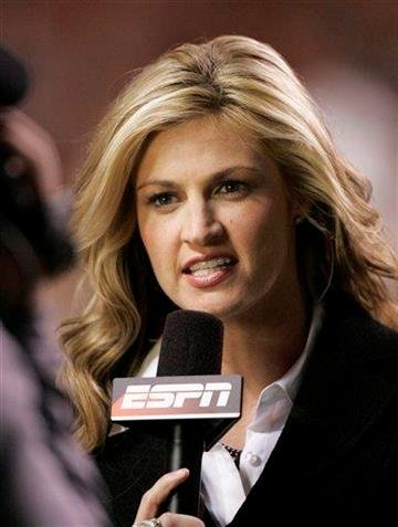 ESPN's Erin Andrews reports from the sidelines during a NCAA college football game between Auburn and Tennessee Saturday, Oct. 3, 2009 in Knoxville, Tenn. Auburn won 26-22.  (AP Photo/Wade Payne) By Wade Payne