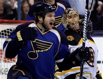 St. Louis Blues' Carlo Colaiacovo, left, celebrates after scoring past Boston Bruins goalie Tuukka Rask, of Finland, during the second period of an NHL hockey game Monday, Nov. 23, 2009, in St. Louis. (AP Photo/Jeff Roberson) By Jeff Roberson