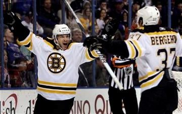 Boston Bruins' Mark Recchi, left, is congratulated by teammate Patrice Bergeron after Recchi scored during the first period of an NHL hockey game against the St. Louis Blues on Monday, Nov. 23, 2009, in St. Louis. (AP Photo/Jeff Roberson) By Jeff Roberson
