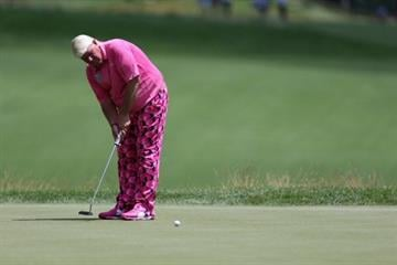 WHITE SULPHUR SPRINGS, WV - JULY 03:  John Daly putts on the sixth green during the first round of the Greenbrier Classic at the Old White TPC on July 3, 2014 in White Sulphur Springs, West Virginia.  (Photo by Todd Warshaw/Getty Images) By Todd Warshaw