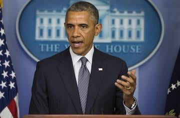 US President Barack Obama makes a statement on  Ukraine from the Brady Press Briefing Room at the White House in Washington, DC, July 18, 2014.    AFP PHOTO / Jim WATSON        (Photo credit should read JIM WATSON/AFP/Getty Images) By JIM WATSON