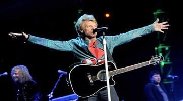LOS ANGELES, CA - APRIL 19:  Singer Jon Bon Jovi of the band Bon Jovi performs at The Staples Center on April 19, 2013 in Los Angeles, California.  (Photo by Kevin Winter/Getty Images) By Kevin Winter