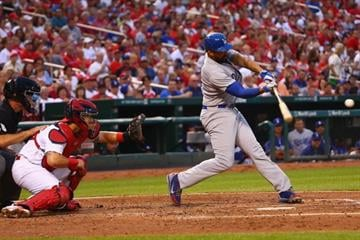 ST. LOUIS, MO - JULY 20: Matt Kemp #27 of the Los Angeles Dodgers hits an RBI single in the third inning against the St. Louis Cardinals at Busch Stadium on July 20, 2014 in St. Louis, Missouri.  (Photo by Dilip Vishwanat/Getty Images) By Dilip Vishwanat
