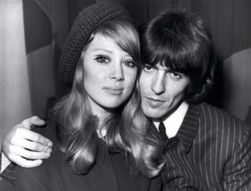 """The """"Beatle"""" George Harrison and his young wife, Patti Boyd pose 22 June 1966 in an unidentified place.   AFP PHOTO (Photo credit should read AFP/AFP/Getty Images) By AFP"""