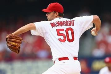 ST. LOUIS, MO - JULY 22: Starter Adam Wainwright #50 of the St. Louis Cardinals pitches against the Tampa Bay Rays in the first inning at Busch Stadium on July 22, 2014 in St. Louis, Missouri.  (Photo by Dilip Vishwanat/Getty Images) By Dilip Vishwanat