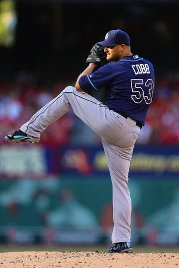 ST. LOUIS, MO - JULY 23: Starter Alex Cobb #53 of the Tampa Bay Rays pitches against the St. Louis Cardinals in the first inning at Busch Stadium on July 23, 2014 in St. Louis, Missouri. (Photo by Dilip Vishwanat/Getty Images) By Dilip Vishwanat