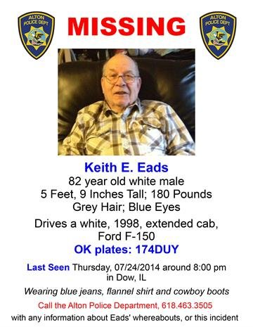 Alton, Ill. police are asking for help locating 82-year-old Keith E. Eads who was reported missing Thursday evening by a caregiver. Eads is a resident of Glenhaven Gardens in Alton and did not return as he was scheduled. By Stephanie Baumer