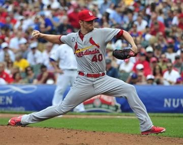 CHICAGO, IL - JULY 26:  Shelby Miller #40 of the St. Louis Cardinals pitches against the Chicago Cubs during the first inning on July 26, 2014 at Wrigley Field in Chicago, Illinois. (Photo by David Banks/Getty Images) By David Banks