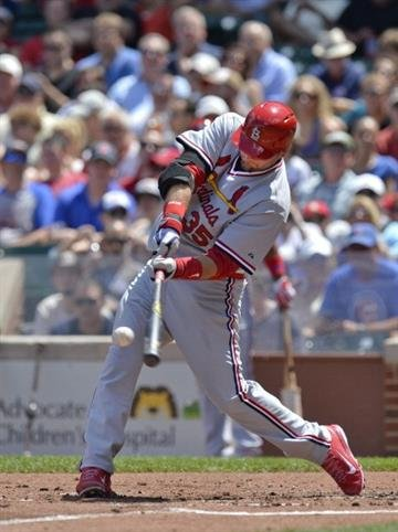 CHICAGO, IL - JULY 27:  A.J. Pierzynski #35 of the St. Louis Cardinals connects on a double during the second inning against the Chicago Cubs at Wrigley Field on July 27, 2014 in Chicago, Illinois.  (Photo by Brian Kersey/Getty Images) By Brian Kersey