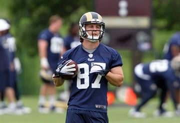 St. Louis Rams rookie T.J. Moe runs a play during the first day of organizaed team activities at Rams Park in Earth City, Missouri on June 5, 2014.    UPI/Bill Greenblatt By BILL GREENBLATT