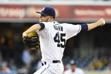 SAN DIEGO, CA - JULY 30: Jesse Hahn #45 of the San Diego Padres pitches during the first inning of a baseball game against theSt. Louis Cardinals at Petco Park July 30, 2014 in San Diego, California. (Photo by Denis Poroy/Getty Images) By Denis Poroy