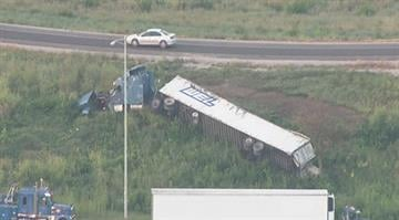 Emergency crews were called to the scene of an overturned tractor trailer in the Metro East early Thursday morning. By Stephanie Baumer