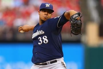 ST. LOUIS, MO - AUGUST 1: Starter Wily Peralta #38 of the Milwaukee Brewers pitches against the St. Louis Cardinals in the first inning at Busch Stadium on August 1, 2014 in St. Louis, Missouri.  (Photo by Dilip Vishwanat/Getty Images) By Dilip Vishwanat