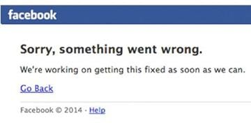 Users who tried to get on Facebook around noon EST were greeted with an apology. By Stephanie Baumer