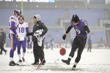 BALTIMORE, MD - DECEMBER 08:  Kicker Justin Tucker #9 of the Baltimore Ravens warms up before the game against the Minnesota Vikings at M&T Bank Stadium on December 8, 2013 in Baltimore, Maryland.  (Photo by Larry French/Getty Images) By Larry French
