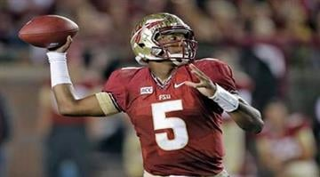 FILE - In this Nov. 2, 2013 file photo, Florida State quarterback Jameis Winston throws a pass during the third quarter of an NCAA college football game against Miami, in Tallahassee, Fla. (AP Photo/Chris O'Meara, File) By Chris O'Meara