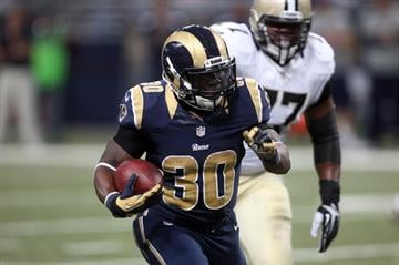 St. Louis Rams Zac Stacy runs for 40 yard touchdown against the New Orleans Saints in the second quarter at the Edward Jones Dome in St. Louis on December 15, 2013. UPI/Bill Greenblatt By BILL GREENBLATT