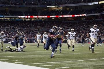 ST. LOUIS, MO - DECEMBER 15: Zac Stacy #30 of the St. Louis Rams rushes for a touchdown against the New Orleans Saints at the Edward Jones Dome on December 15, 2013 in St. Louis, Missouri.  (Photo by Dilip Vishwanat/Getty Images) By Dilip Vishwanat