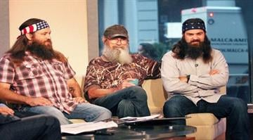 """NEW YORK, NY - SEPTEMBER 09:  The cast of """"Duck Dynasty"""" Si Robertson, Jep Robertson and Willie Robertson visit """"Fox And Friends"""" at Fox News Studios on September 9, 2013 in New York City.  (Photo by Laura Cavanaugh/Getty Images) By Laura Cavanaugh"""