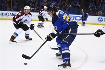 ST. LOUIS, MO - NOVEMBER 14:  Alexander Steen #20 of the St. Louis Blues moves the puck against the Colorado Avalanche at the Scottrade Center on November 14, 2013 in St. Louis, Missouri.  (Photo by Dilip Vishwanat/Getty Images) By Dilip Vishwanat