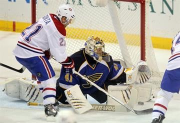 St. Louis Blues goaltender Jaroslav Halak of Slovkia gets a pad on the puck shot by Montreal Canadiens Brian Gionta in the first period at the Scottrade Center in St. Louis on December 19, 2013. UPI/Bill Greenblatt By BILL GREENBLATT