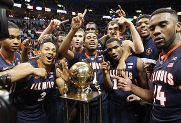 Members of the Illinois Illini celebrate after defeating the Missouri Tigers 65-64 in the Annual Braggin' Rights game at the Scottrade Center in St. Louis on December 21, 2103.  UPI/Bill Greenblatt By BILL GREENBLATT